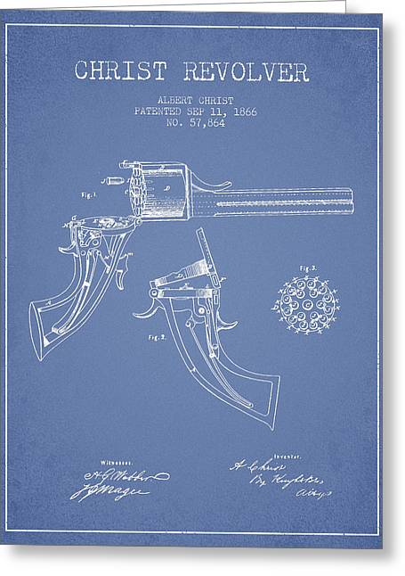 Pistol Greeting Cards - Christ revolver Patent Drawing from 1866 - Light Blue Greeting Card by Aged Pixel