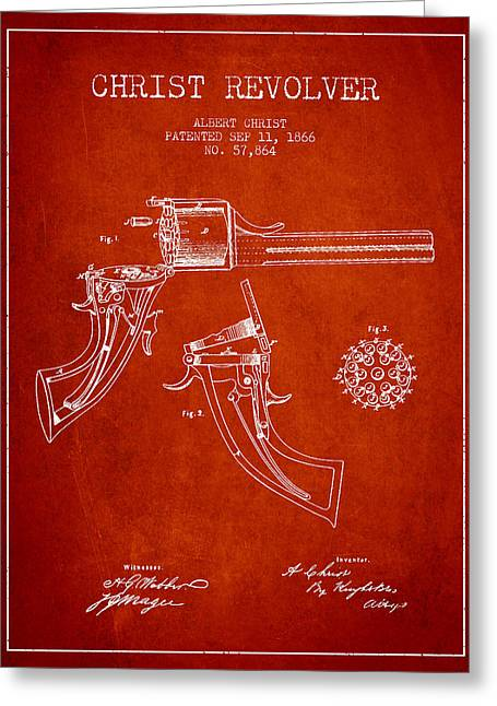 Pistol Greeting Cards - Christ revolver Patent Drawing from 1866 - Red Greeting Card by Aged Pixel
