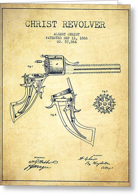 Pistol Greeting Cards - Christ revolver Patent Drawing from 1866 - Vintage Greeting Card by Aged Pixel