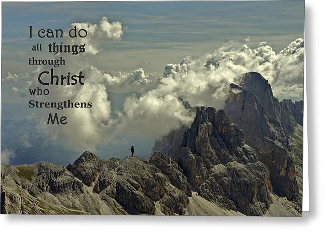 Strengthen Greeting Cards - Christ Strengthens Me Greeting Card by Movie Poster Prints