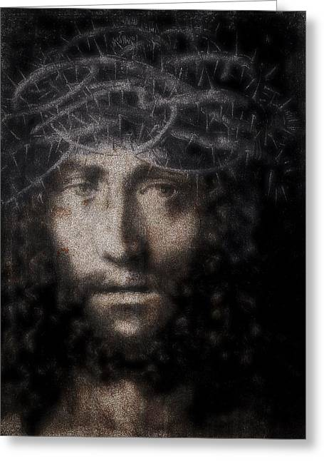 Jesus Christ Icon Greeting Cards - Christ Suffering Greeting Card by Daniel Hagerman