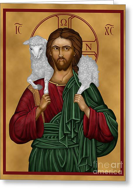Jesus Christ Icon Greeting Cards - Christ the Good Shepherd Greeting Card by Lawrence Klimecki