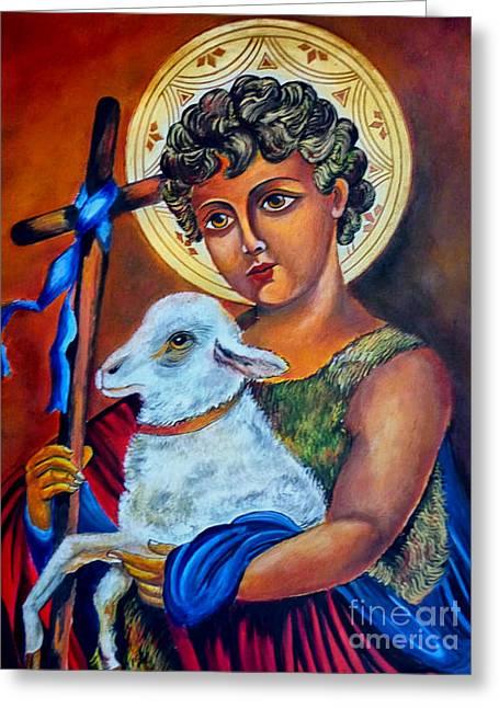 Christ The Good Shepherd  Greeting Card by Ryszard Sleczka