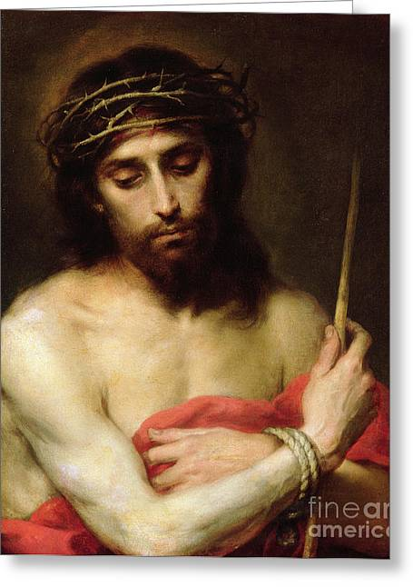 Chiaroscuro Greeting Cards - Christ The Man Of Sorrows Greeting Card by Bartolome Esteban Murillo