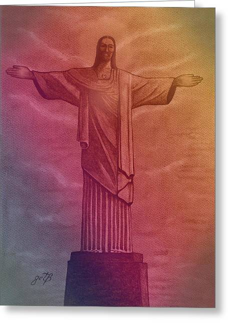 Christ The Redeemer Under The Rainbow Greeting Card by Georgeta Blanaru
