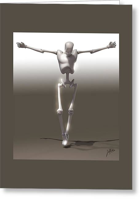 Crucifix Mixed Media Greeting Cards - Christ mechanical Greeting Card by Quim Abella