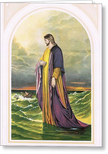 Christ Walking On Water Greeting Cards - Christ walking on the sea Greeting Card by English School
