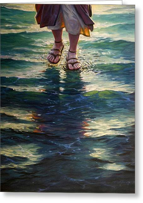 Child Jesus Greeting Cards - Christ Walking On The Water Greeting Card by Victor Gladkiy
