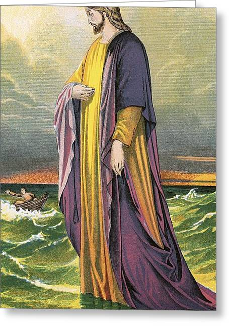 Gospel Greeting Cards - Christ walking on water Greeting Card by English School