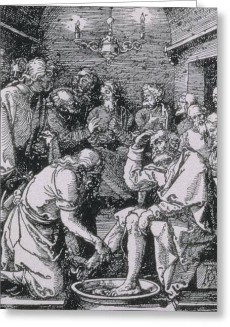 Charity Paintings Greeting Cards - Christ washing Peters feet Greeting Card by Albrecht Durer or Duerer