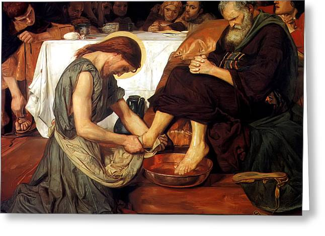 Jesus Washes Peters Feet Greeting Cards - Christ Washing Peters Feet Greeting Card by Ford Madox Brown