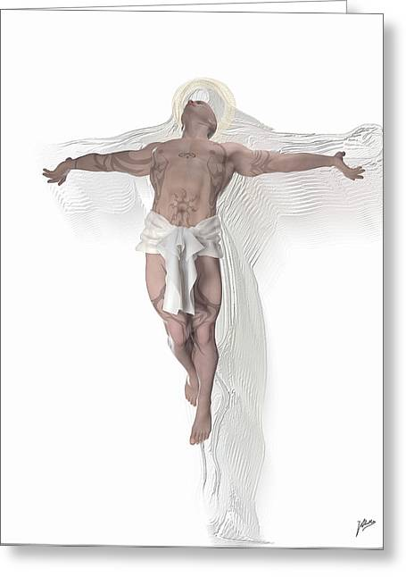 Crucifix Drawings Greeting Cards - Christ weightless Greeting Card by Quim Abella