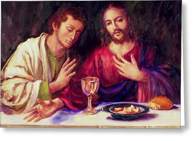 Last Supper Greeting Cards - Christ With Apostle John Greeting Card by Beverly Klucher