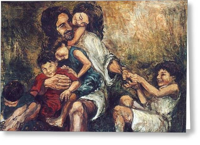 Let The Children Come To Me Greeting Cards - Christ With Children Greeting Card by Christopher Santer