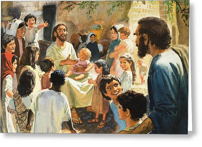 Christian Paintings Greeting Cards - Christ with Children Greeting Card by Peter Seabright