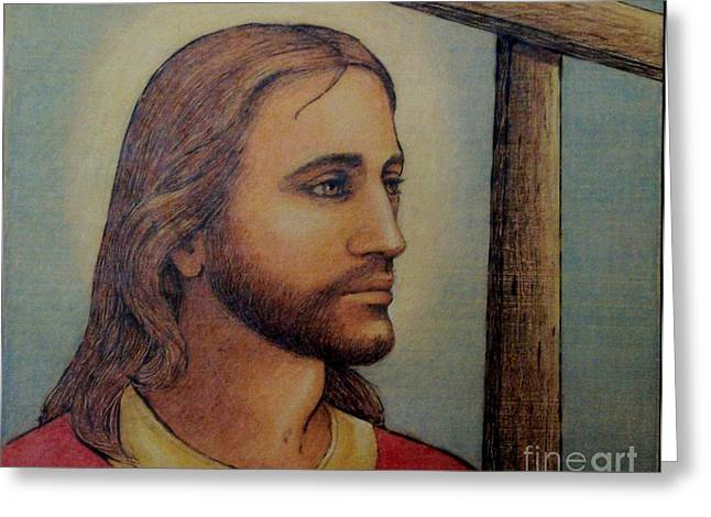 Christianity Pyrography Greeting Cards - Christ with Cross Greeting Card by Eileen Annest