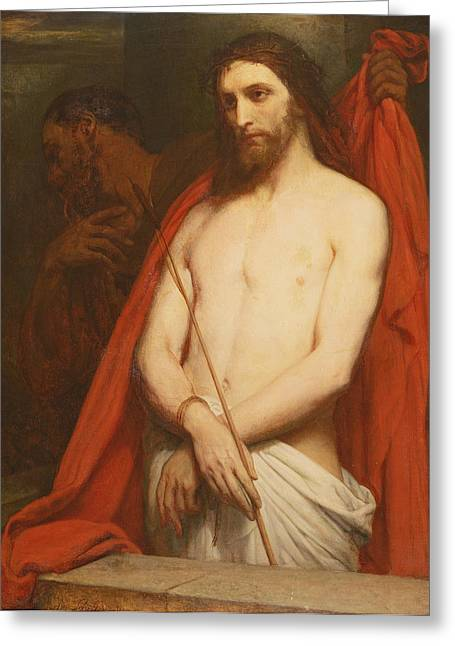 Jesus Thorns Greeting Cards - Christ With The Reed Oil On Canvas Greeting Card by Ary Scheffer