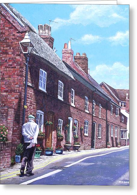 Row Of Houses Greeting Cards - Christchurch Church Lane Greeting Card by Martin Davey
