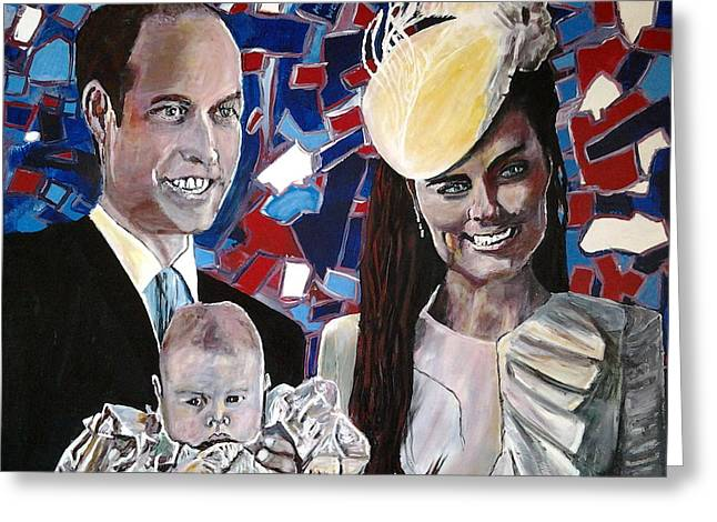 Kate Middleton Paintings Greeting Cards - Christened Prince George Greeting Card by Mickton Wellbee