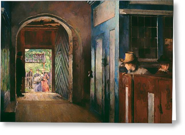 Religious Artwork Paintings Greeting Cards - Christening in Tanum Church Greeting Card by Harriet Backer