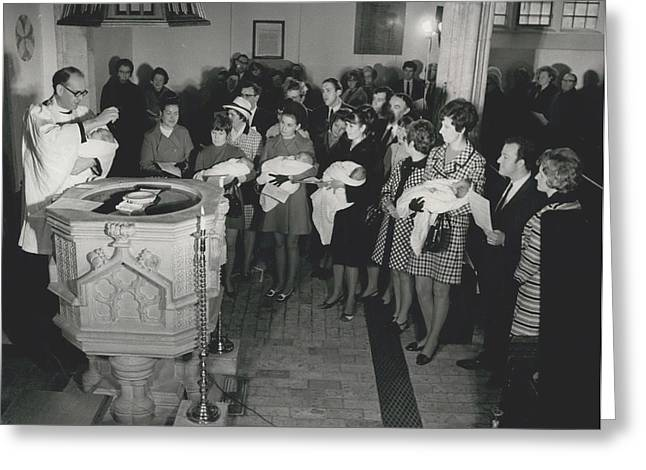 Retro Photography Greeting Cards - Christening Of The Hanson Quins. Greeting Card by Retro Images Archive
