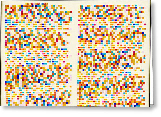 Blue White Silver Yellow Red Gold Greeting Cards - Christian Art- Color Alphabet Mosaic- Genesis Chapter One Greeting Card by Mark Lawrence