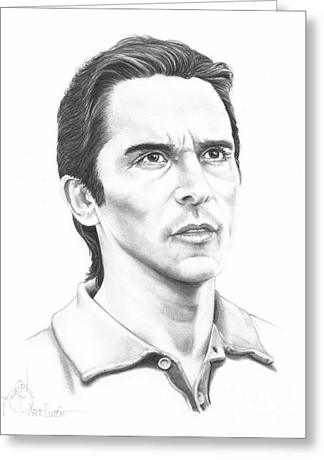 Bale Drawings Greeting Cards - Christian Bale Greeting Card by Murphy Elliott
