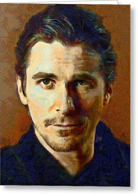 Christian Bale Greeting Cards - Christian Bale Greeting Card by Nikola Durdevic