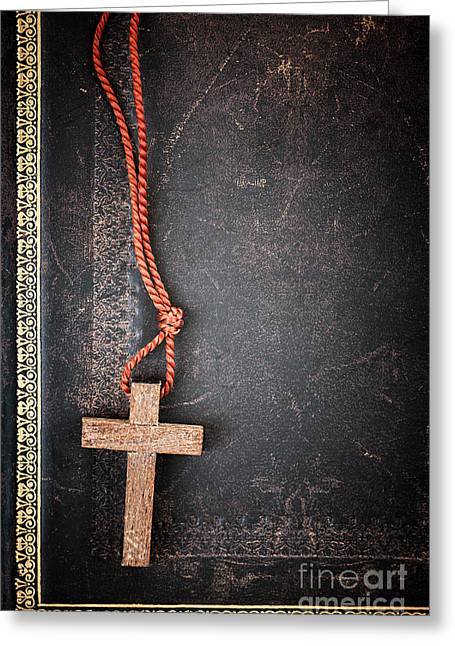 Gold Necklace. Greeting Cards - Christian Cross on Bible Greeting Card by Elena Elisseeva