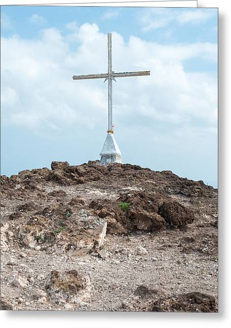 Calvary Photographs Greeting Cards - Christian Cross on Hill Greeting Card by Chay Bewley