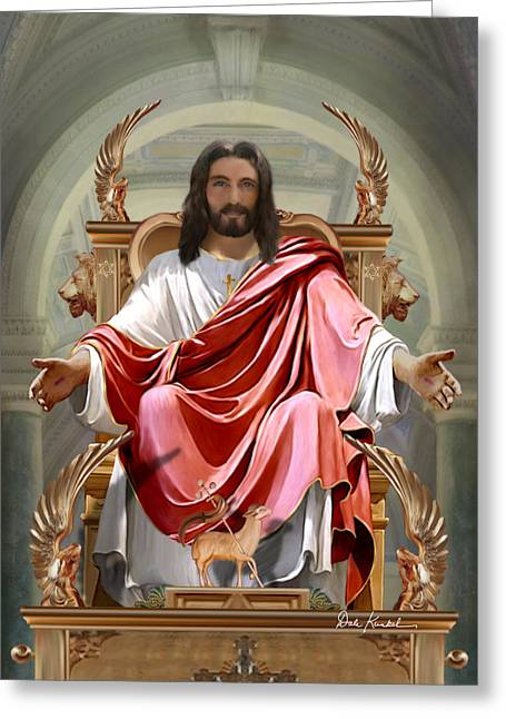 Kingdom Of God Greeting Cards - Matthew 19-28 - King of Glory Greeting Card by Dale Kunkel Art