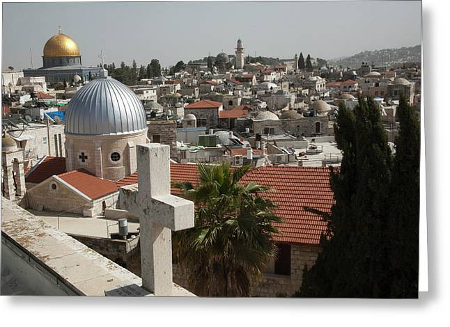 Christian Rooftop Cross And Silver Greeting Card by Dave Bartruff