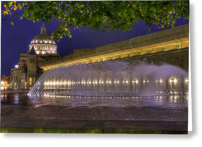 Christian Science Center Fountain - Boston Greeting Card by Joann Vitali