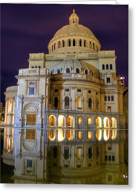 Boston Night Scenes Greeting Cards - Christian Science Church - Boston Greeting Card by Joann Vitali