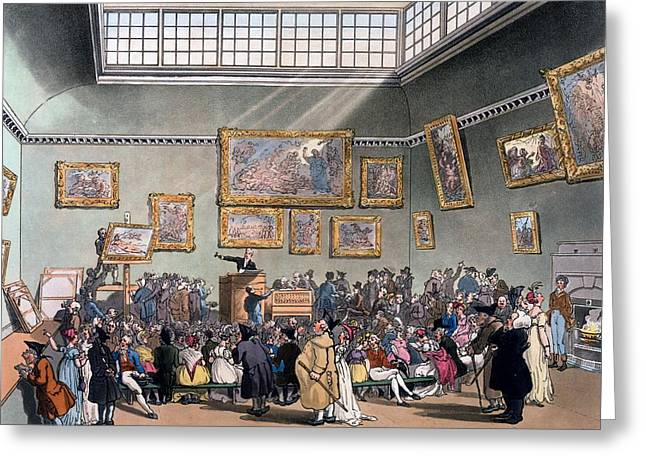 Christies Auction Room, Illustration Greeting Card by T. & Pugin, A.C. Rowlandson