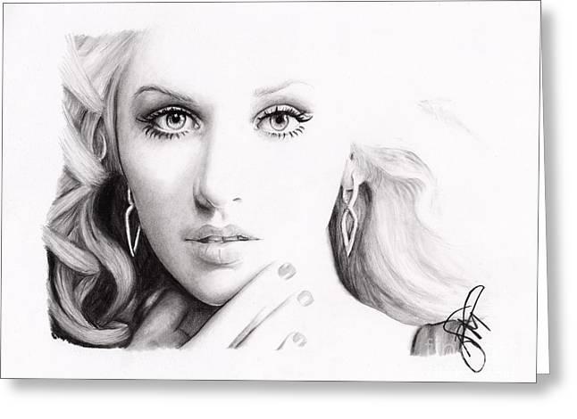 Christina Aguilera Greeting Cards - Christina Aguilera 2 Greeting Card by Rosalinda Markle