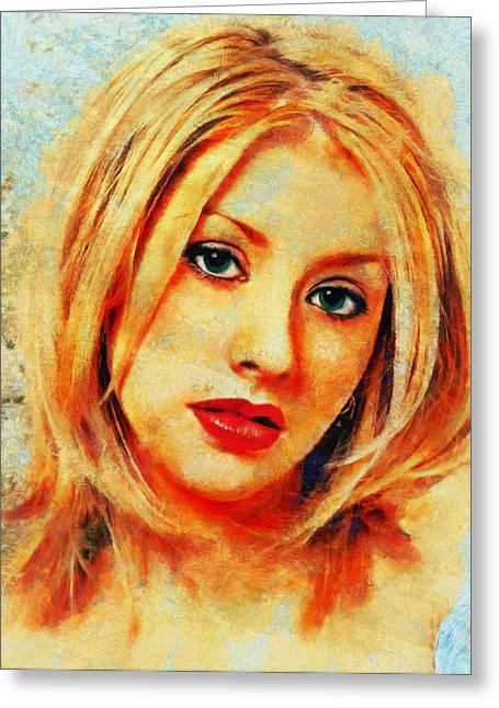 Christina Aguilera Greeting Cards - Christina Aguilera Greeting Card by Nikola Durdevic