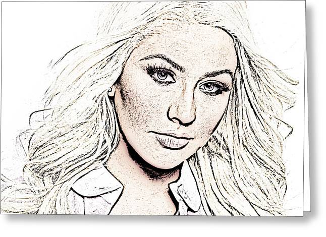 Christina Aguilera Greeting Cards - Christina Aguilera Greeting Card by Leitte Family