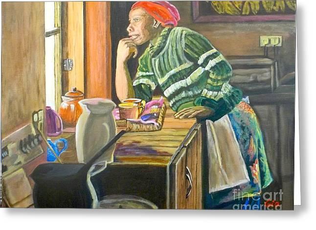 Zimbabwe Paintings Greeting Cards - Christina in Zimbabwe Greeting Card by Frank Giordano