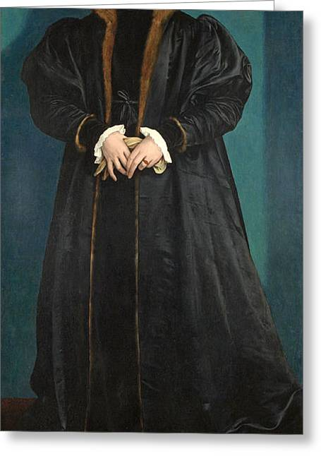 Fur Collar Greeting Cards - Christina Of Denmark 1522-90 Duchess Of Milan, Probably 1538 Oil On Panel Greeting Card by Hans Holbein the Younger