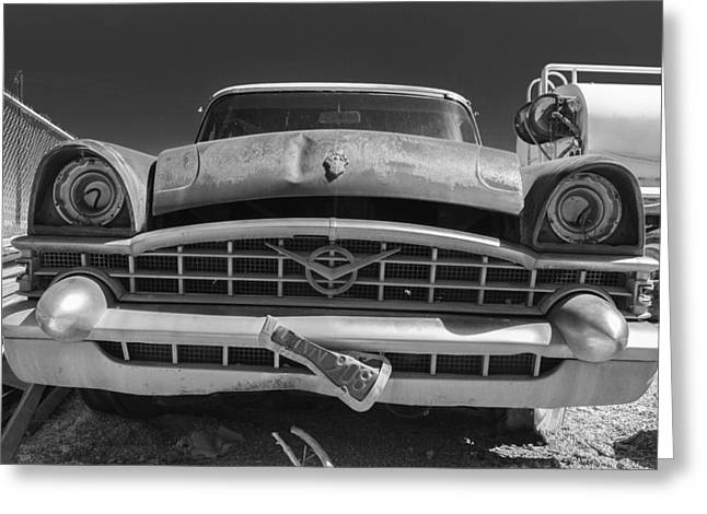 Truck Grill. Fence Greeting Cards - Christine Black and White Greeting Card by Scott Campbell