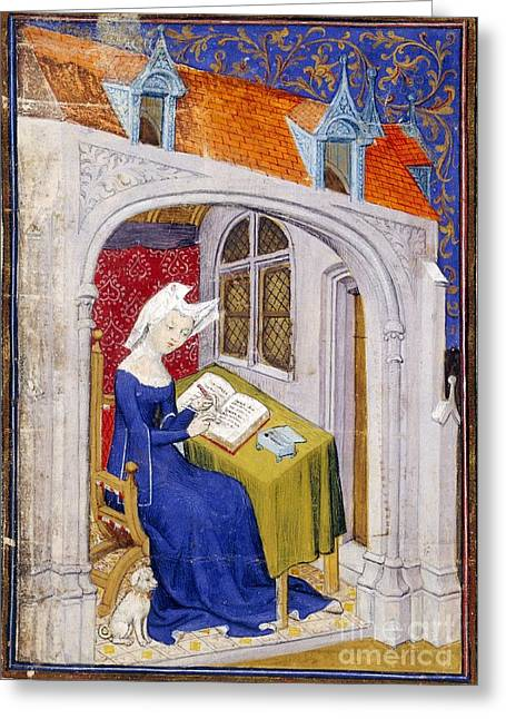 Christine Greeting Cards - Christine De Pizan, Medieval Author Greeting Card by British Library