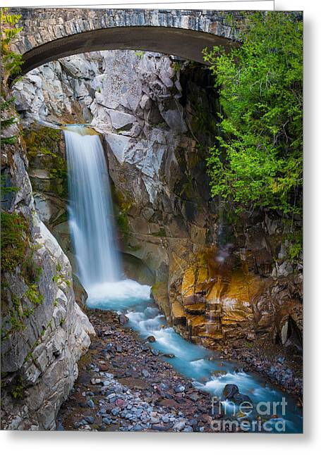 Christine Greeting Cards - Christine Falls and Bridge Greeting Card by Inge Johnsson