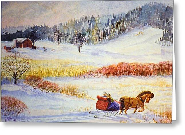 Christine's Ride Greeting Card by Marilyn Smith