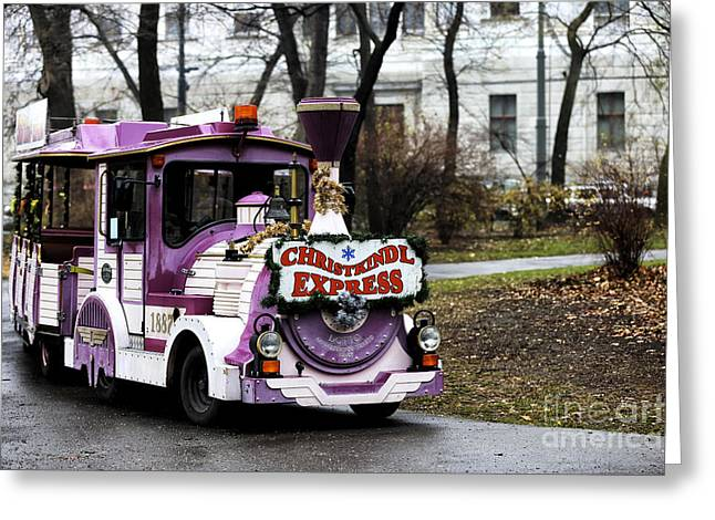 Kiddie Rides Greeting Cards - Christkindl Express Greeting Card by John Rizzuto