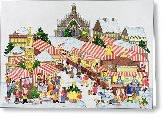 Sledge Photographs Greeting Cards - Christkindlmarket, Nuernberg, 1987 Wc On Paper Greeting Card by Christian Kaempf