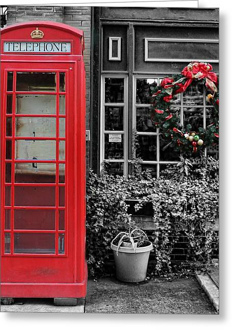 Brick Streets Greeting Cards - Christmas - The Red Telephone Box and Christmas Wreath III Greeting Card by Lee Dos Santos