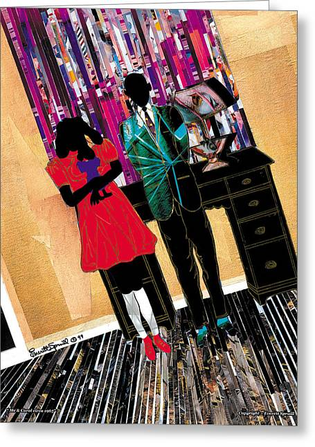 Wynton Marsalis Mixed Media Greeting Cards - Me and Carol - Christmas 1965  - 1999 Greeting Card by Everett Spruill