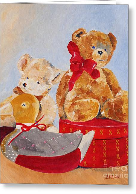 Boy With Teddy Greeting Cards - Christmas 2014 Greeting Greeting Card by Barbara Moak