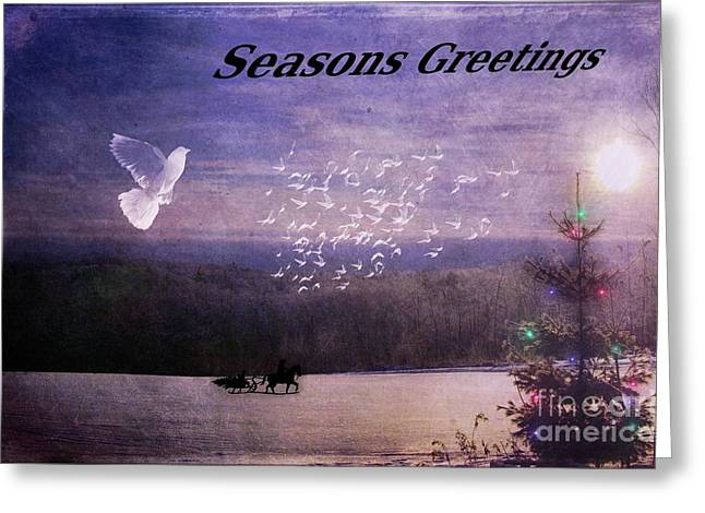 Christmas Greeting Greeting Cards - Christmas Along The Tree Line Greeting Card by The Stone Age